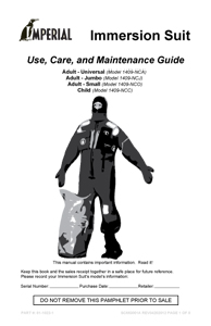 SCMG001A Maintenance Guide - Immersion Suits Canada ENGLISH