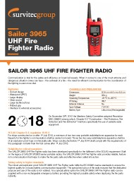 Survitec Sailor 3965 UHF Fire Fighter Radio