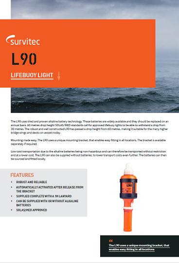 Lifebuoy Light Lifebuoy Light L90 Incl Batteries And Bracket